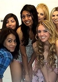 Hot college pink booty shorts teens fuck and masturbate each other in these bathroom sex party pics